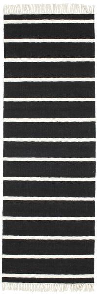 Dorri Stripe - Musta/Valkoinen Matto 80X250 Moderni Käsinkudottu Käytävämatto Musta/Valkoinen/Creme (Villa, Intia)
