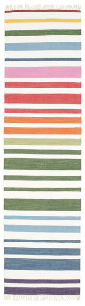 Rainbow Stripe - Valkoinen Matto 80X300 Moderni Käsinkudottu Käytävämatto Valkoinen/Creme (Puuvilla, Intia)