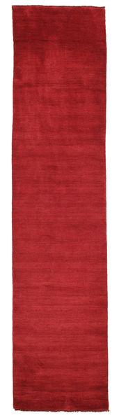 Handloom Fringes - Tummanpunainen Matto 80X350 Moderni Käytävämatto Punainen (Villa, Intia)
