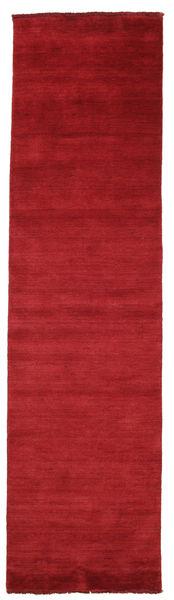 Handloom Fringes - Tummanpunainen Matto 80X300 Moderni Käytävämatto Punainen (Villa, Intia)