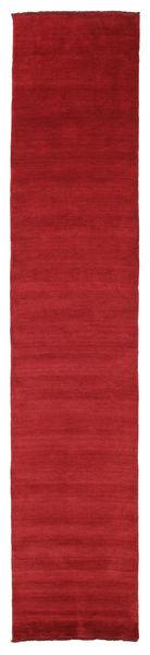 Handloom Fringes - Tummanpunainen Matto 80X400 Moderni Käytävämatto Punainen (Villa, Intia)