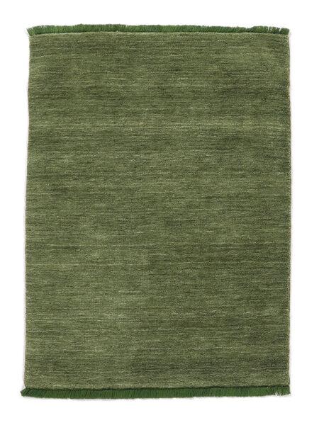 Handloom Fringes - Vihreä Matto 140X200 Moderni Oliivinvihreä/Tummanvihreä (Villa, Intia)