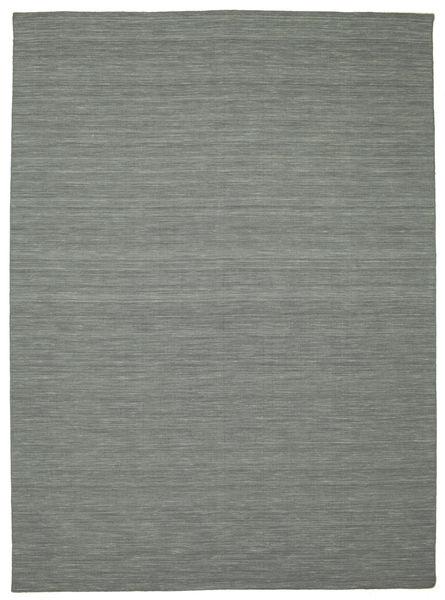 Kelim Loom - Tummanharmaa Matto 250X350 Moderni Käsinkudottu Vaaleanharmaa/Tummanvihreä Isot (Villa, Intia)