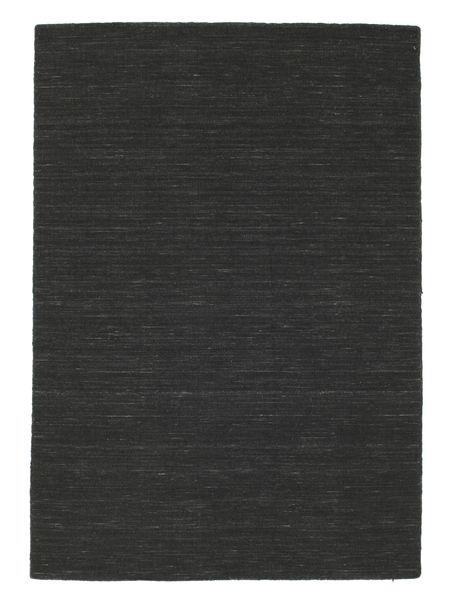 Kelim Loom - Musta Matto 140X200 Moderni Käsinkudottu Tummanharmaa (Villa, Intia)