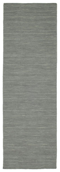 Kelim Loom - Tummanharmaa Matto 80X250 Moderni Käsinkudottu Käytävämatto Vaaleanharmaa/Tummanvihreä (Villa, Intia)