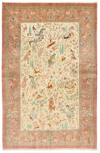 Ghom Silkki Allekirjoitettu: Hosseini Matto 155X240 Itämainen Käsinsolmittu Ruoste/Tummanbeige (Silkki, Persia/Iran)