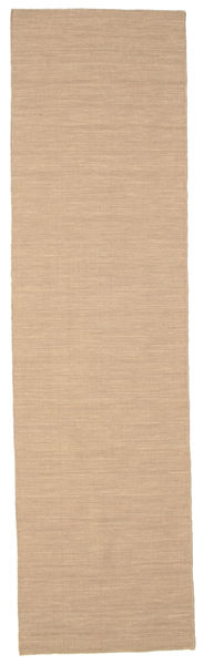 Kelim Loom - Beige Matto 80X300 Moderni Käsinkudottu Käytävämatto Beige/Vaaleanruskea (Villa, Intia)