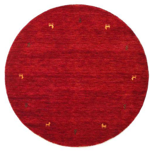 Gabbeh Loom Two Lines - Punainen Matto Ø 150 Moderni Pyöreä Punainen/Tummanpunainen (Villa, Intia)