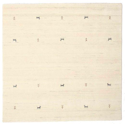 Gabbeh Loom Two Lines - Valkea Matto 200X200 Moderni Neliö Beige/Valkoinen/Creme/Keltainen (Villa, Intia)