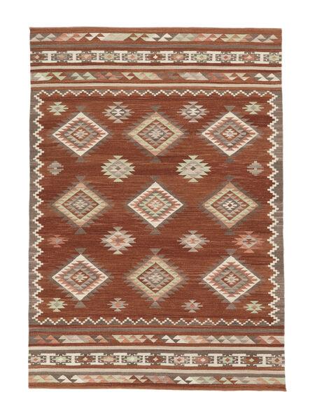 Kelim Malatya Matto 160X230 Moderni Käsinkudottu Punainen/Vaaleanruskea (Villa, Intia)