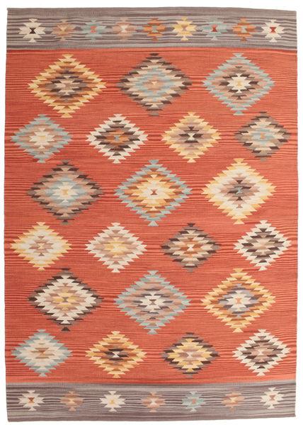 Kelim Denizli Matto 160X230 Moderni Käsinkudottu Oranssi/Punainen (Villa, Intia)