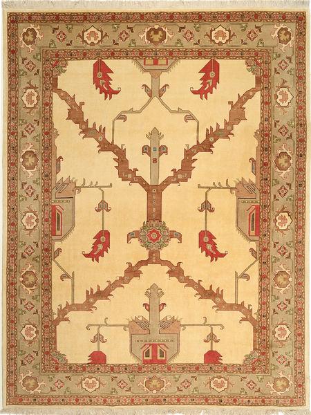 Tabriz 50 Raj Matto 228X295 Itämainen Käsinsolmittu Tummanbeige/Vaaleanruskea (Villa/Silkki, Persia/Iran)