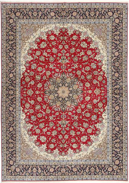 Isfahan Silkkiloimi Matto 300X417 Itämainen Käsinsolmittu Vaaleanharmaa/Tummanpunainen Isot (Villa/Silkki, Persia/Iran)