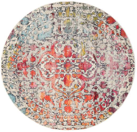 Kaleidoscope - Multi Matto Ø 200 Moderni Pyöreä Vaaleanharmaa/Tummanruskea ( Turkki)