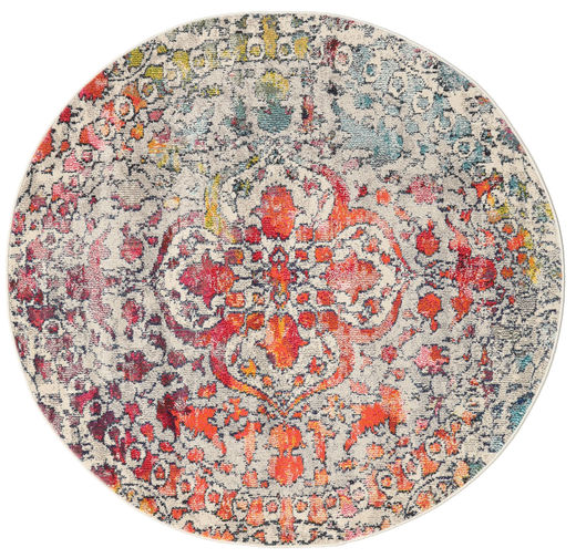 Kaleidoscope - Multi Matto Ø 150 Moderni Pyöreä Vaaleanharmaa/Tummanruskea ( Turkki)