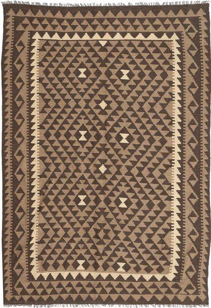 Kelim Maimane Matto 159X240 Itämainen Käsinkudottu Ruskea/Vaaleanharmaa (Villa, Afganistan)