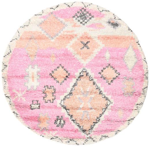 Odda - Roosa Matto Ø 200 Moderni Käsinsolmittu Pyöreä Vaaleanpunainen/Beige (Villa, Intia)
