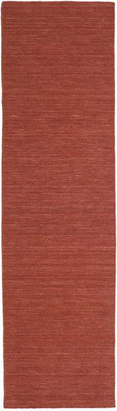 Kelim Loom - Ruoste Matto 80X400 Moderni Käsinkudottu Käytävämatto Tummanpunainen (Villa, Intia)