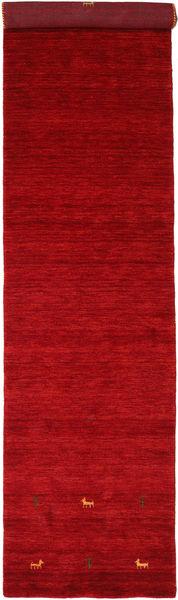 Gabbeh Loom Two Lines - Punainen Matto 80X350 Moderni Käytävämatto Punainen/Tummanpunainen (Villa, Intia)
