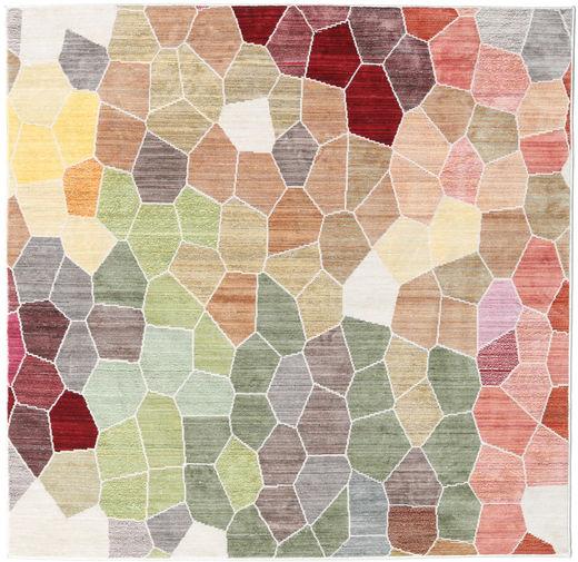 Play Of Colours Matto 150X150 Moderni Neliö Vaaleanharmaa/Tummanbeige ( Turkki)
