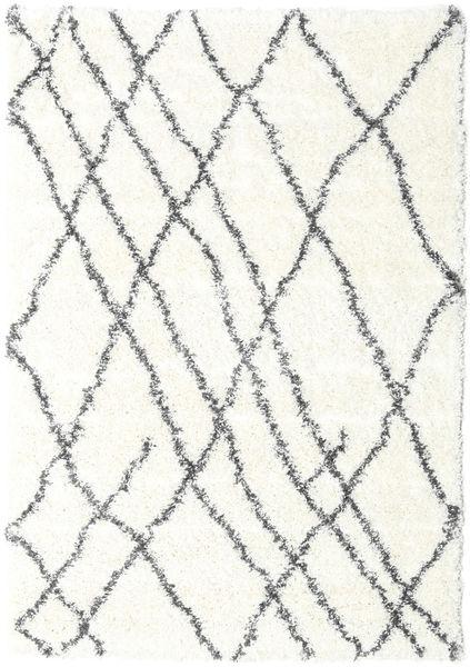 Shaggy Tangier - Valkoinen/Tummanharmaa Matto 140X200 Moderni Beige/Vaaleanharmaa ( Turkki)