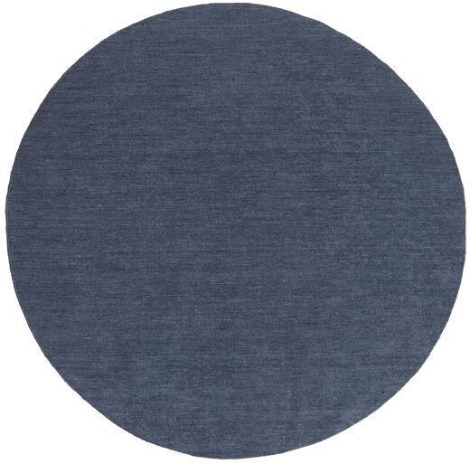 Kelim Loom - Denim Sininen Matto Ø 250 Moderni Käsinkudottu Pyöreä Sininen Isot (Villa, Intia)
