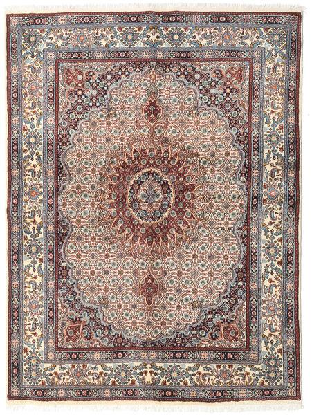 Moud Matto 148X200 Itämainen Käsinsolmittu Vaaleanharmaa/Tummanpunainen (Villa/Silkki, Persia/Iran)