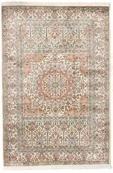 Kashmir 100% Silkki Matto 127X186 Itämainen Käsinsolmittu Vaaleanharmaa/Beige (Silkki, Intia)