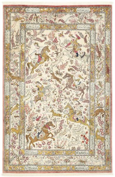 Ghom Silkki Matto 132X203 Itämainen Käsinsolmittu Tummanbeige/Vaaleanharmaa (Silkki, Persia/Iran)