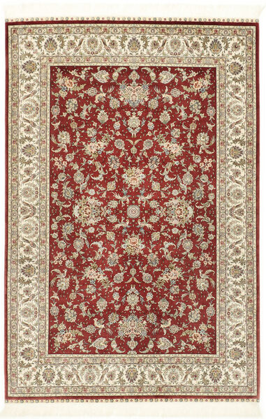 Herike Ch Matto 124X186 Itämainen Käsinsolmittu Tummanpunainen/Beige (Silkki, Kiina)