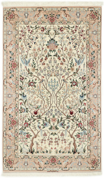 Isfahan Silkkiloimi Matto 122X200 Itämainen Käsinsolmittu Beige/Vaaleanharmaa (Villa/Silkki, Persia/Iran)