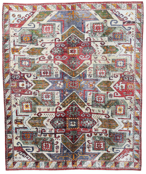 Sari 100% Silkki Matto 246X297 Moderni Käsinsolmittu Vaaleanharmaa/Ruskea (Silkki, Intia)
