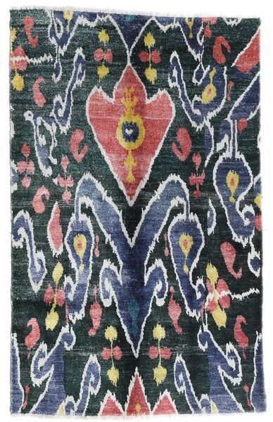 Sari 100% Silkki Matto 105X166 Moderni Käsinsolmittu Tummansininen/Valkoinen/Creme (Silkki, Intia)