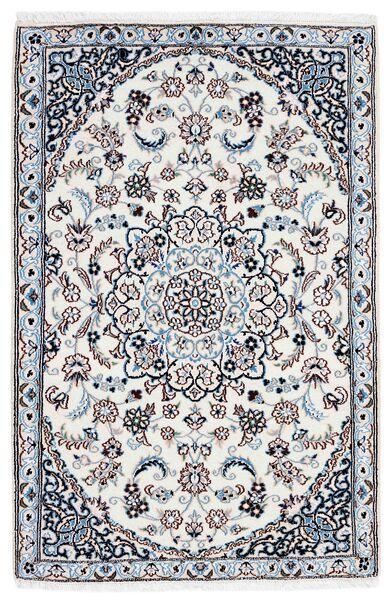 Nain 9La Matto 90X137 Itämainen Käsinsolmittu Valkoinen/Creme/Vaaleansininen (Villa/Silkki, Persia/Iran)