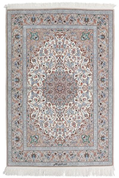 Isfahan Silkkiloimi Matto 110X160 Itämainen Käsinsolmittu Vaaleanharmaa/Valkoinen/Creme (Villa/Silkki, Persia/Iran)