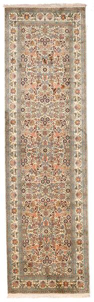 Kashmir 100% Silkki Matto 80X277 Itämainen Käsinsolmittu Käytävämatto Vaaleanruskea/Valkoinen/Creme (Silkki, Intia)