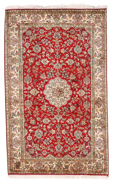 Kashmir 100% Silkki Matto 93X152 Itämainen Käsinsolmittu Tummanruskea/Valkoinen/Creme (Silkki, Intia)