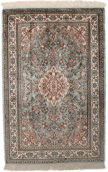 Kashmir 100% Silkki Matto 65X96 Itämainen Käsinsolmittu Vaaleanharmaa/Tummanharmaa (Silkki, Intia)