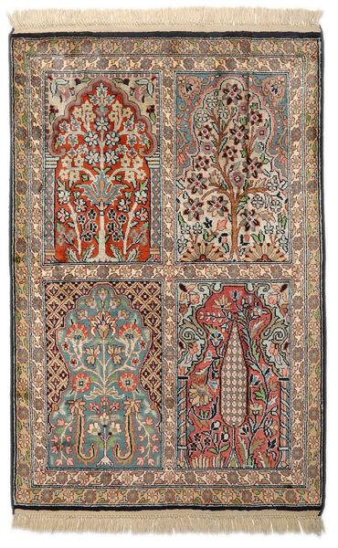 Kashmir 100% Silkki Matto 63X95 Itämainen Käsinsolmittu Tummanharmaa/Vaaleanruskea/Beige (Silkki, Intia)