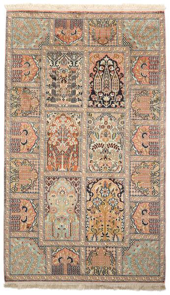 Kashmir 100% Silkki Matto 93X156 Itämainen Käsinsolmittu Beige/Ruskea (Silkki, Intia)