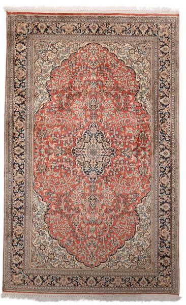Kashmir 100% Silkki Matto 96X154 Itämainen Käsinsolmittu Vaaleanharmaa/Tummanpunainen (Silkki, Intia)