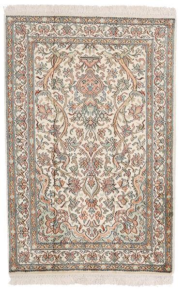 Kashmir 100% Silkki Matto 62X94 Itämainen Käsinsolmittu Vaaleanharmaa/Beige (Silkki, Intia)