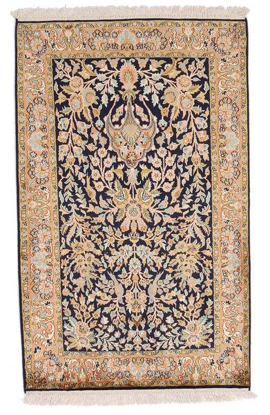 Kashmir 100% Silkki Matto 80X127 Itämainen Käsinsolmittu Tummanharmaa/Ruskea (Silkki, Intia)