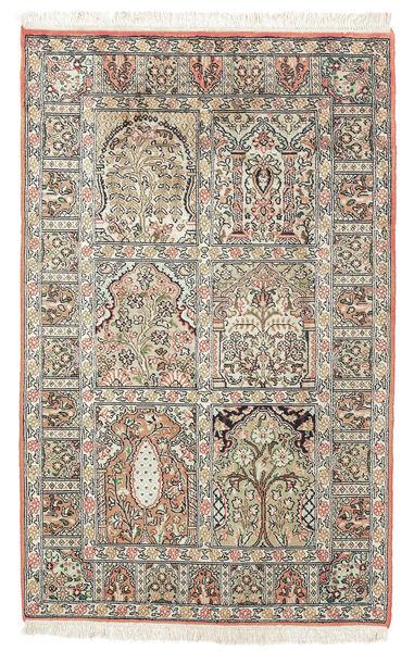 Kashmir 100% Silkki Matto 77X127 Itämainen Käsinsolmittu Tummanruskea/Beige (Silkki, Intia)