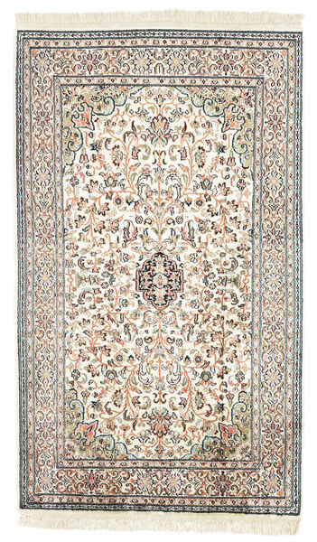 Kashmir 100% Silkki Matto 77X131 Itämainen Käsinsolmittu Beige/Musta (Silkki, Intia)