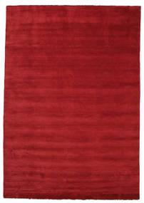 Handloom Fringes - Tummanpunainen Matto 250X350 Moderni Punainen Isot (Villa, Intia)