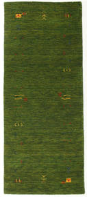 Gabbeh Loom Frame - Vihreä Matto 80X200 Moderni Käytävämatto Tummanvihreä (Villa, Intia)