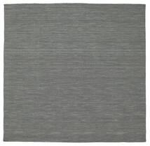 Kelim Loom - Tummanharmaa Matto 200X200 Moderni Käsinkudottu Neliö Tummanvihreä/Vaaleanharmaa (Villa, Intia)