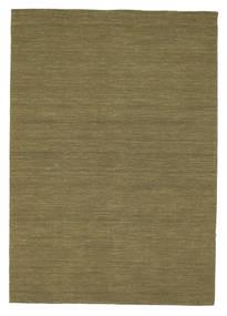 Kelim Loom - Oliivin Matto 160X230 Moderni Käsinkudottu Oliivinvihreä (Villa, Intia)