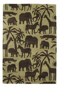 Africa Handtufted Matto 120X180 Moderni Tummanruskea/Oliivinvihreä/Vaaleanvihreä (Villa, Intia)